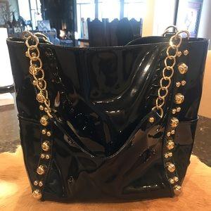 Armani Exchange Black Patent Leather Gold Detail